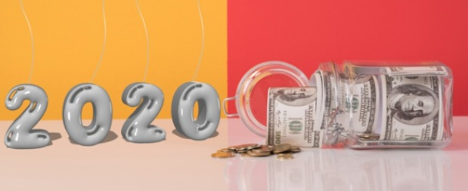 "Silver ""2020"" balloons with a jar of money spilling out. Save money in 2020."