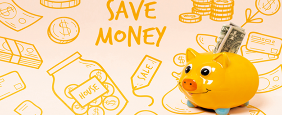 "Piggy bank with dollar bill coming out from top on illustrated background ""Save Money""."